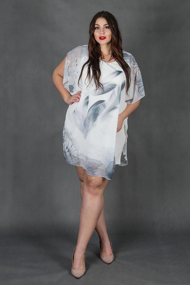 Szara Tunika BURGOS Kimono Plus Size