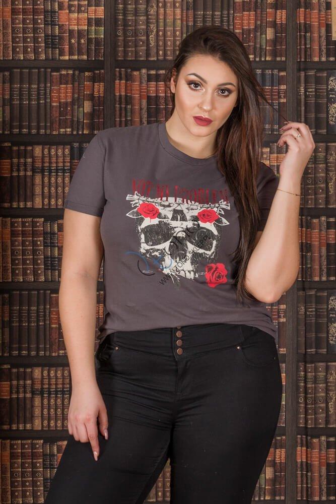 Szara bluzka damska PLAIN T-shirt XXL