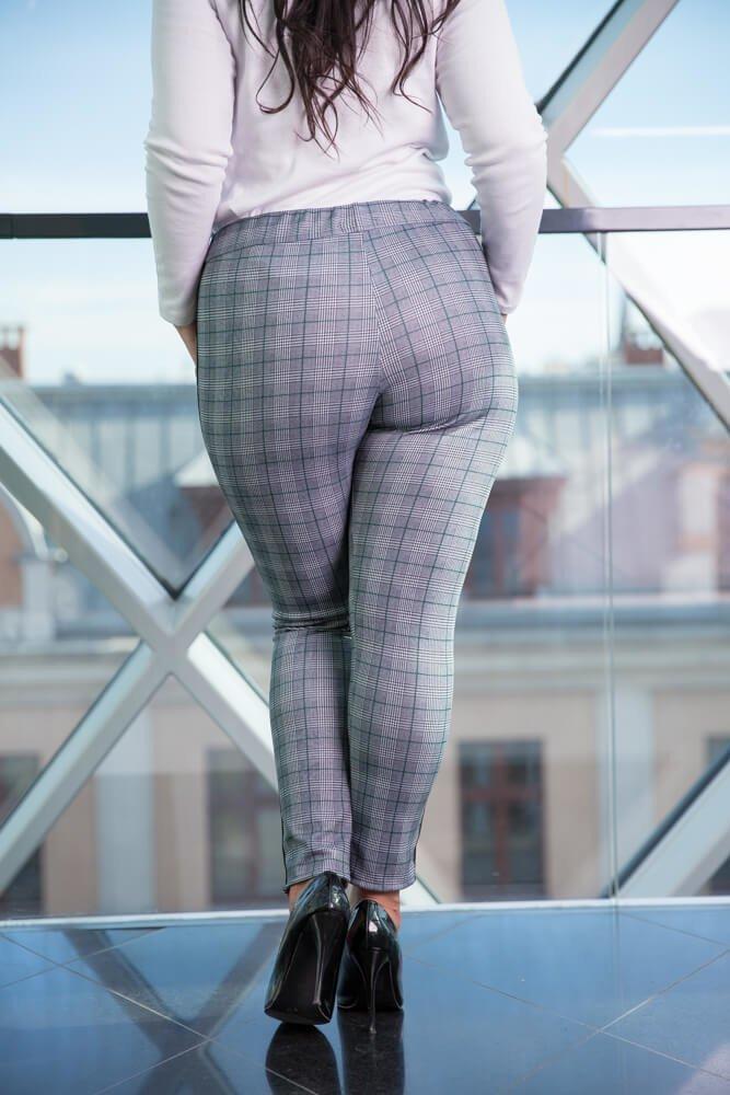 Szare Spodnie ZORA Krata Plus Size wzór 2
