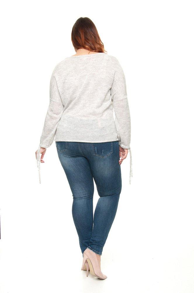 Szary Sweter DANIKA Oversize Wiązany
