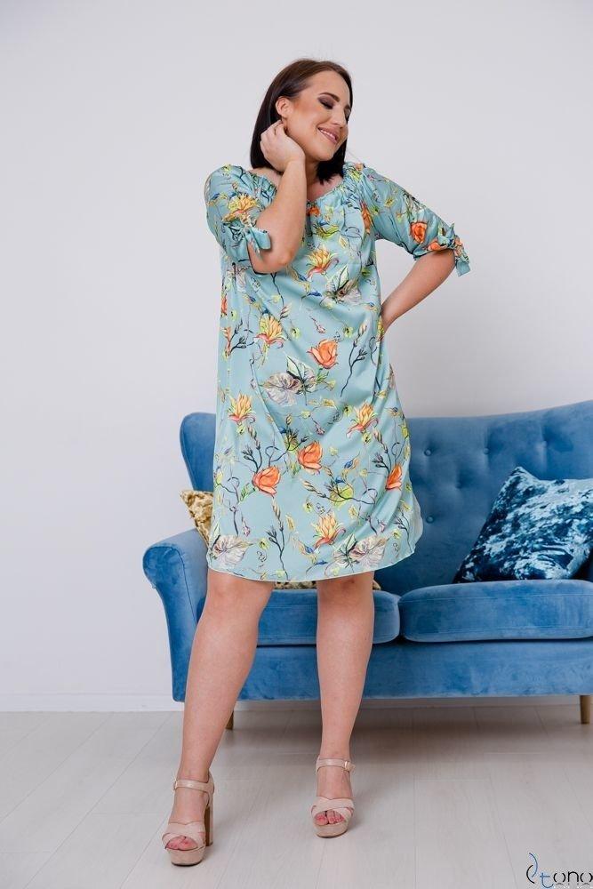 Turkusowo-Pomarańczowa Sukienka VALENCIA Hiszpanka Plus Size