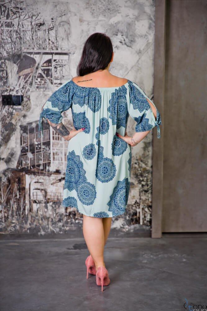 Błękitna Sukienka RAVENA Plus Size