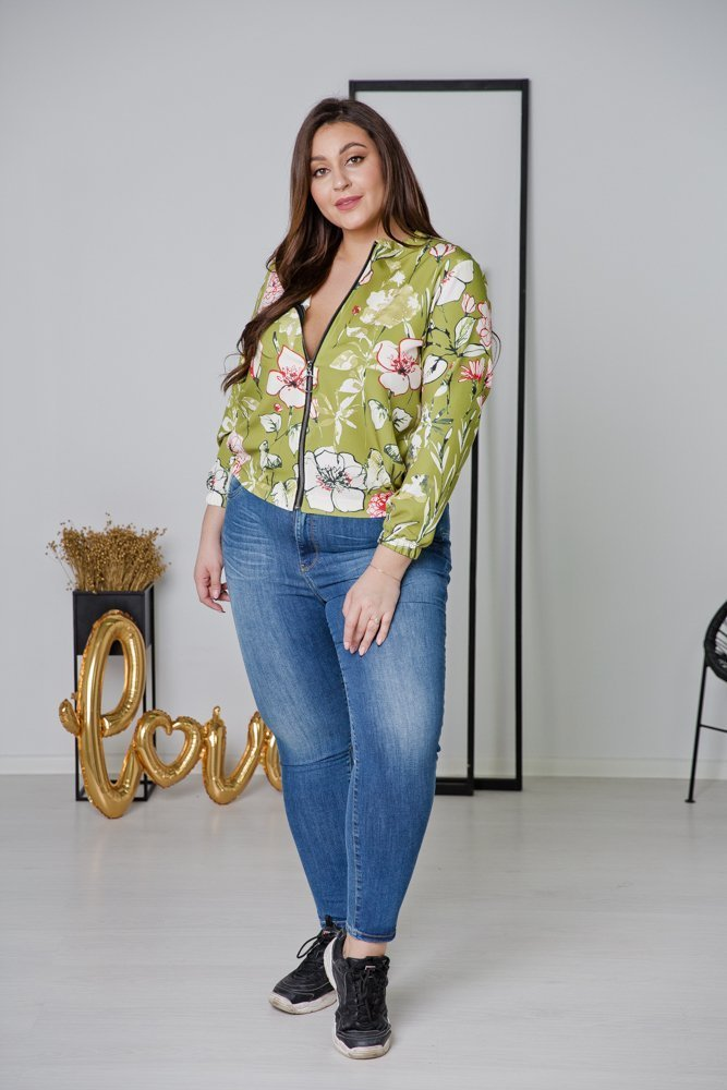 Zielona Bluza ENCARA Plus Size Bomberka