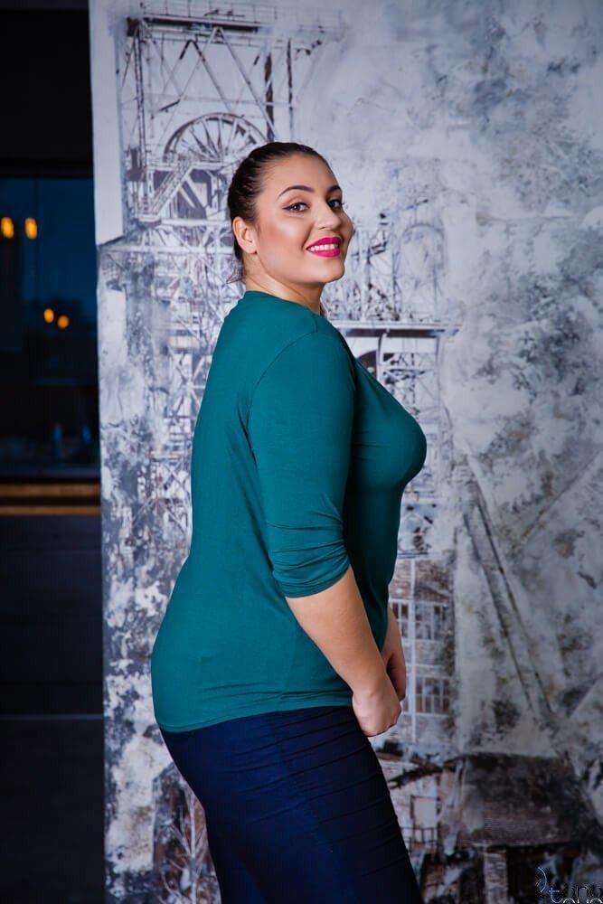 Zielona Bluzka damska FESTIVA Plus Size