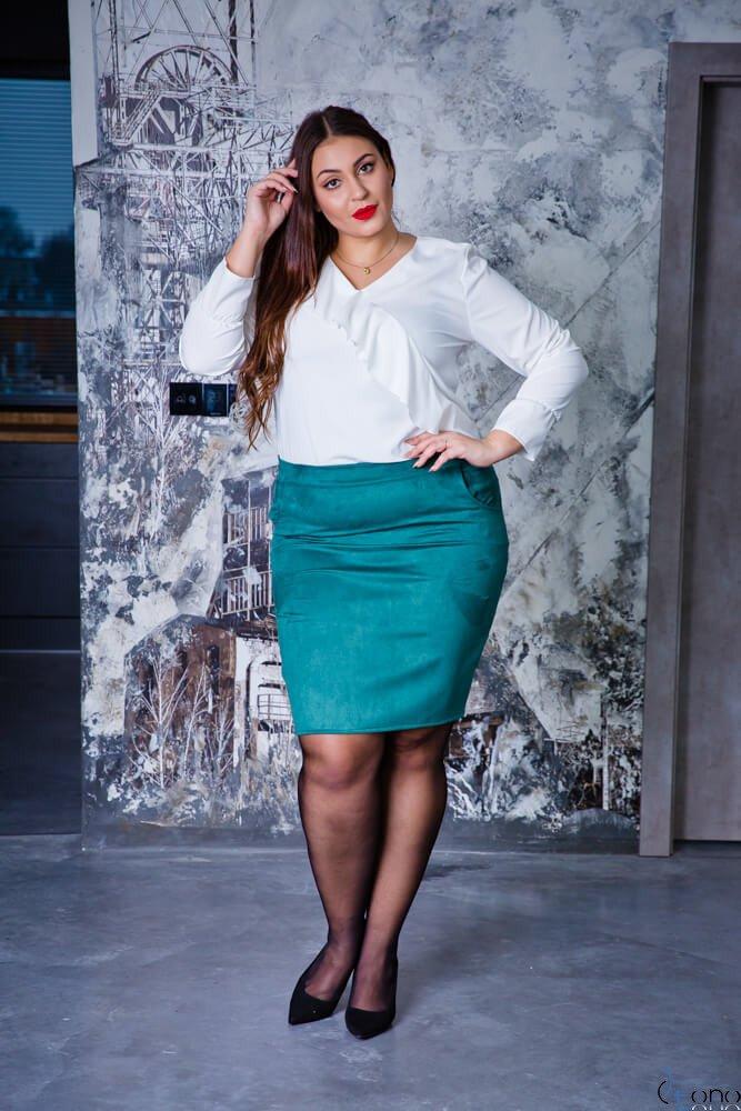 Zielona Spódnica damska BONNY Zamsz Plus Size