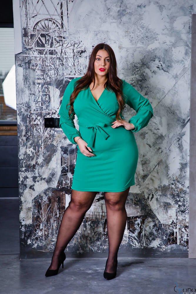 Zielona Sukienka KJARA  Unikalna Plus Size