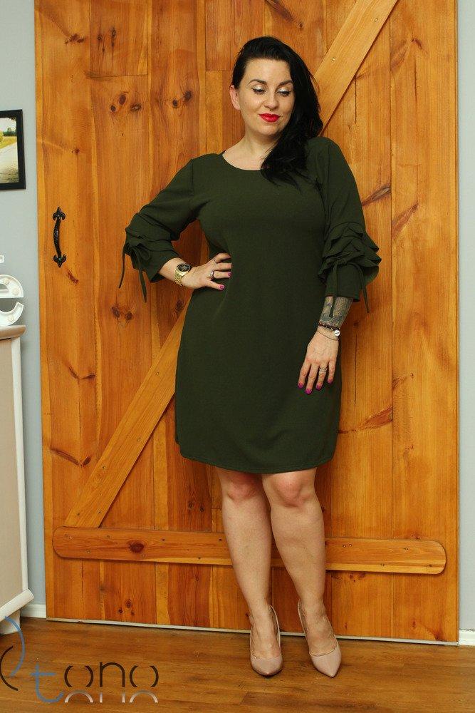 Zielona Sukienka LARNAKA Modna Unikalny Rękaw Plus Size