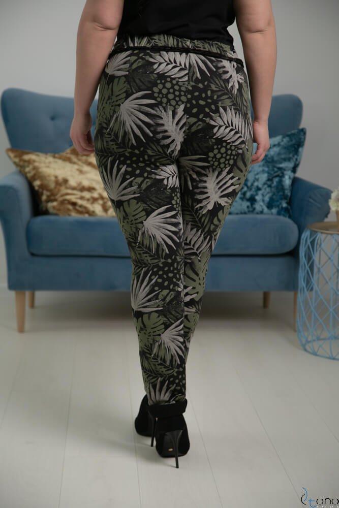 Zielono-Czarne Spodnie JERSEY Lampas Plus Size