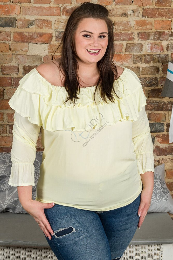 Żółta Bluzka BASTIA Hiszpanka Koszulowa Modna Plus Size