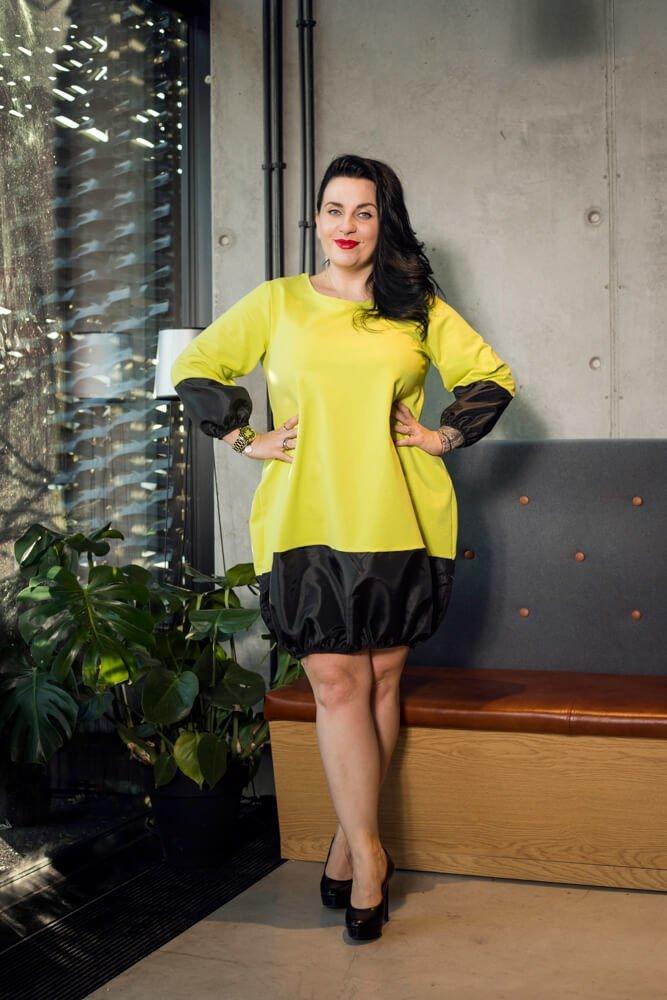 Żółta Sukienka BJORK Bombka Plus Size