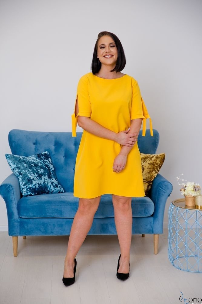 Żółta Sukienka SAFANA Plus Size