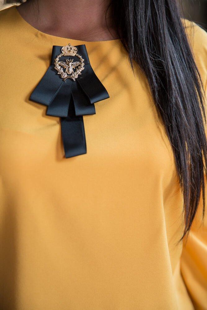 Żółta bluzka damska LAMJA Krawatka Plus Size