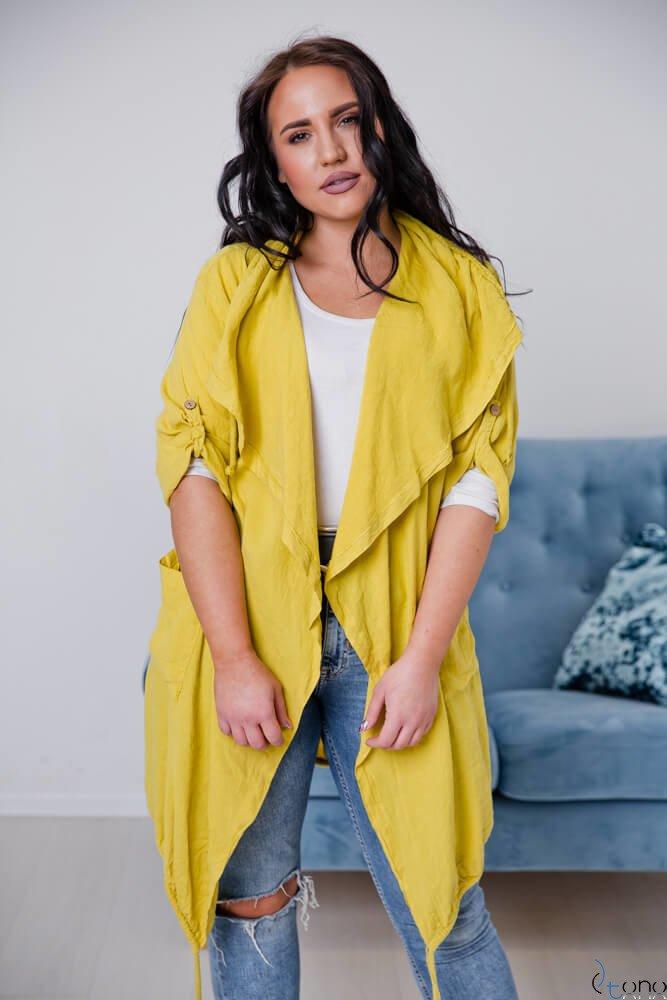 Żółty Kardigan EROLA Plus Size