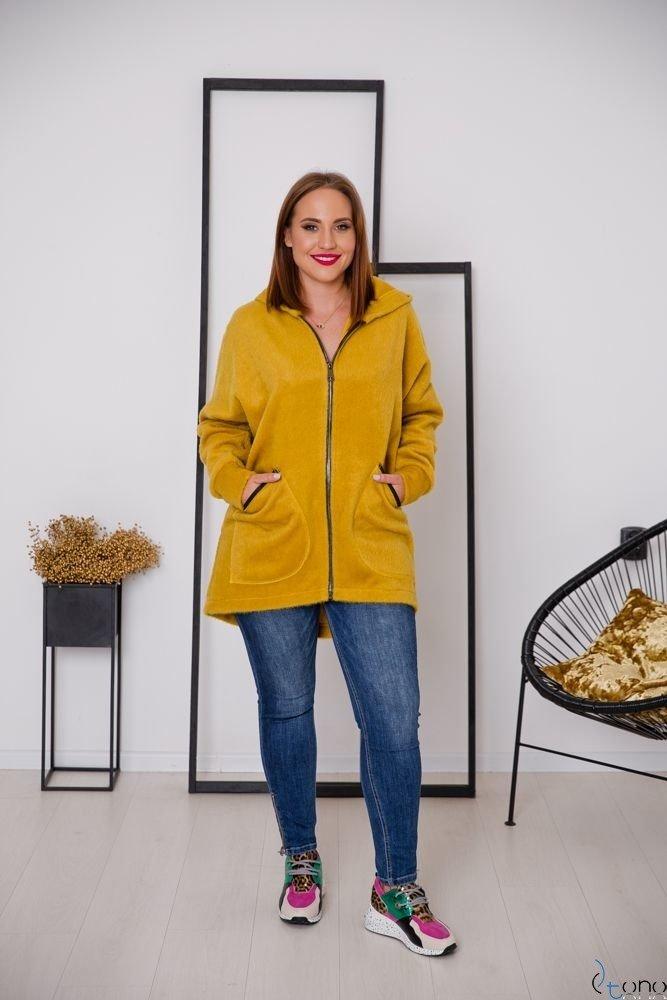 Żółty Płaszcz VERONICA Plus Size